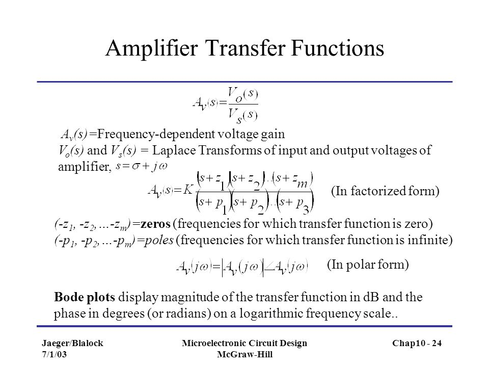 Amplifier Transfer Functions