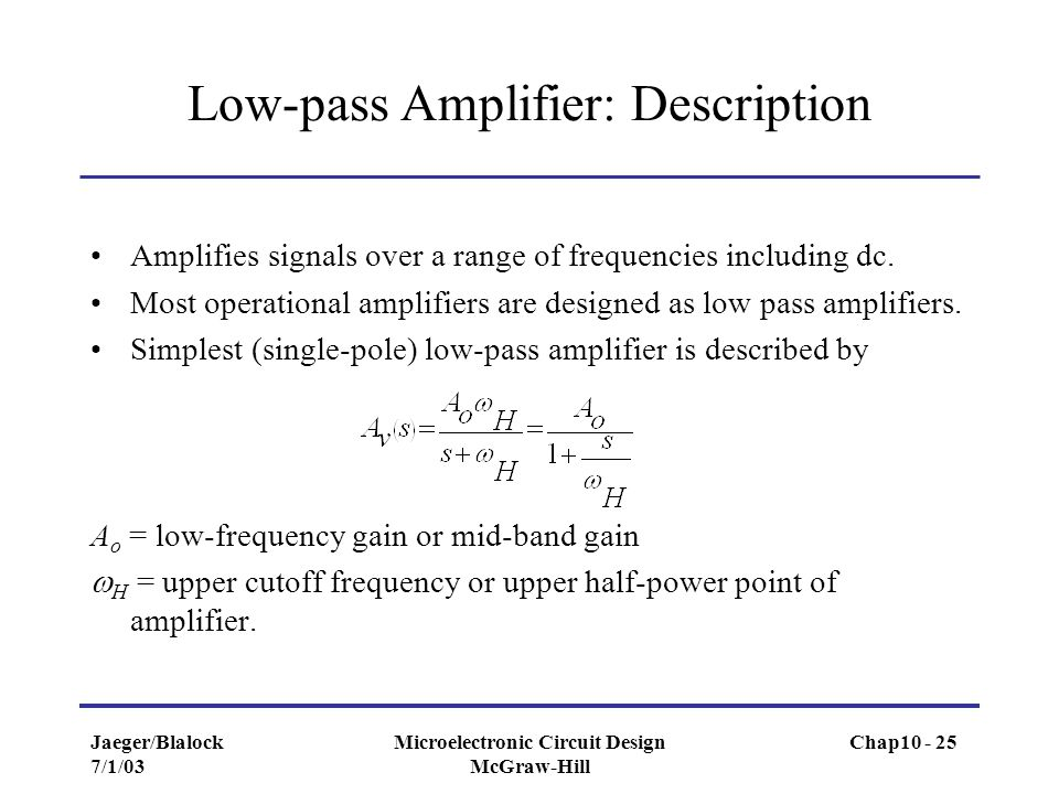 Low-pass Amplifier: Description
