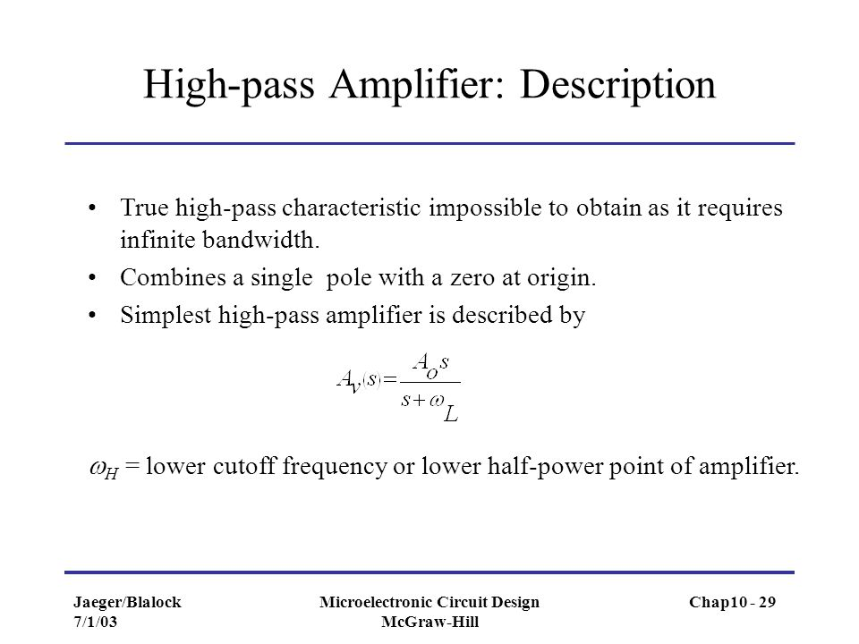 High-pass Amplifier: Description