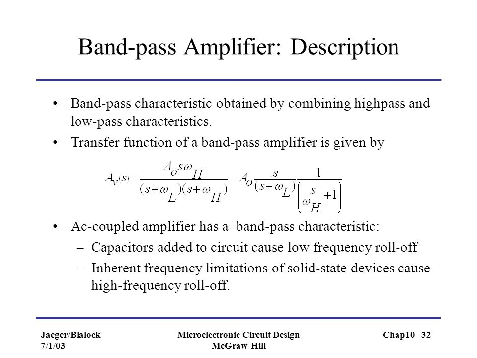 Band-pass Amplifier: Description