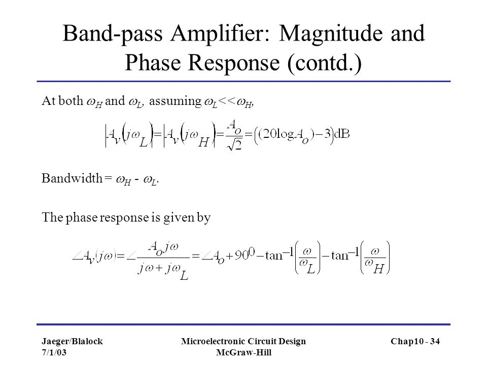Band-pass Amplifier: Magnitude and Phase Response (contd.)