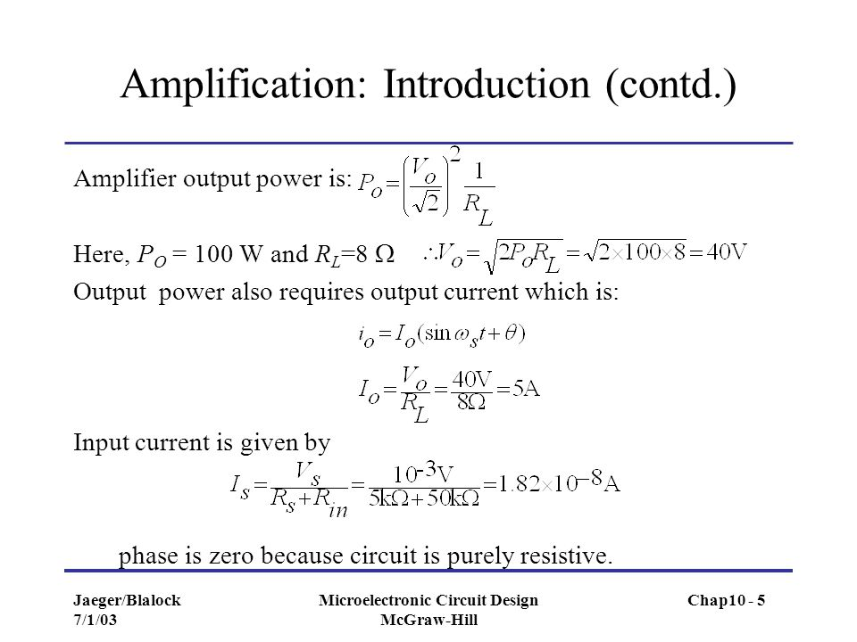 Amplification: Introduction (contd.)