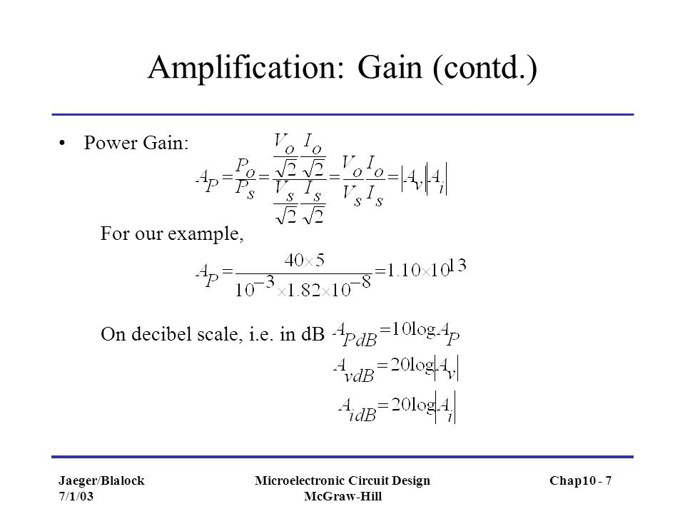 Amplification: Gain (contd.)