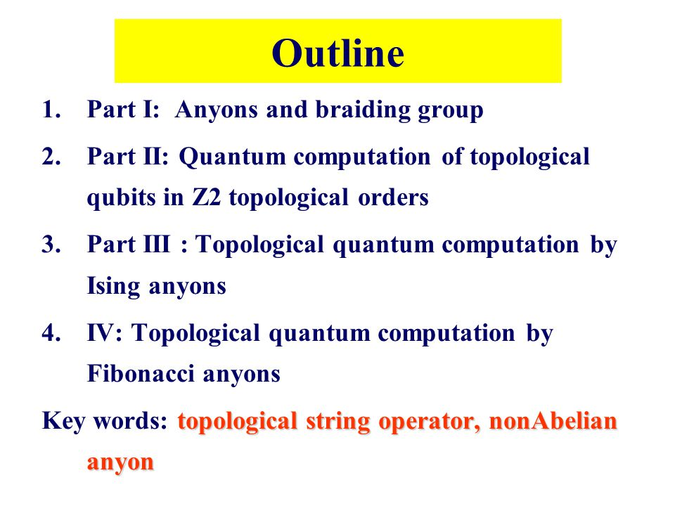Outline Part I: Anyons and braiding group