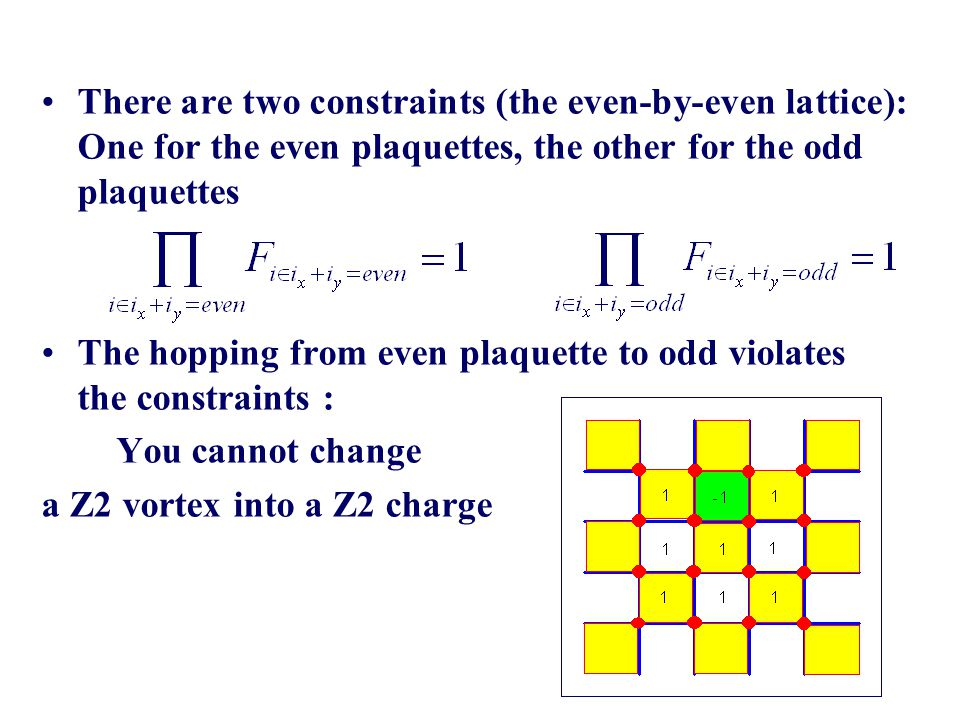 There are two constraints (the even-by-even lattice): One for the even plaquettes, the other for the odd plaquettes