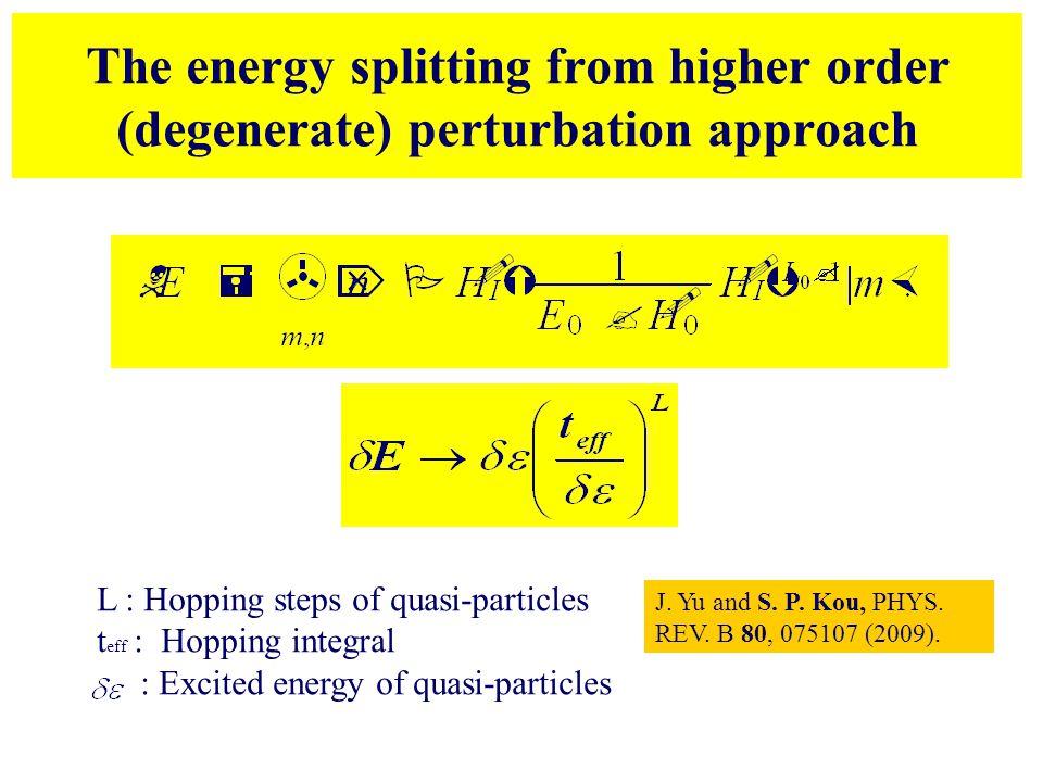The energy splitting from higher order (degenerate) perturbation approach