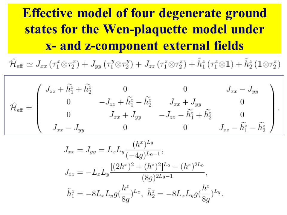 Effective model of four degenerate ground states for the Wen-plaquette model under x- and z-component external fields