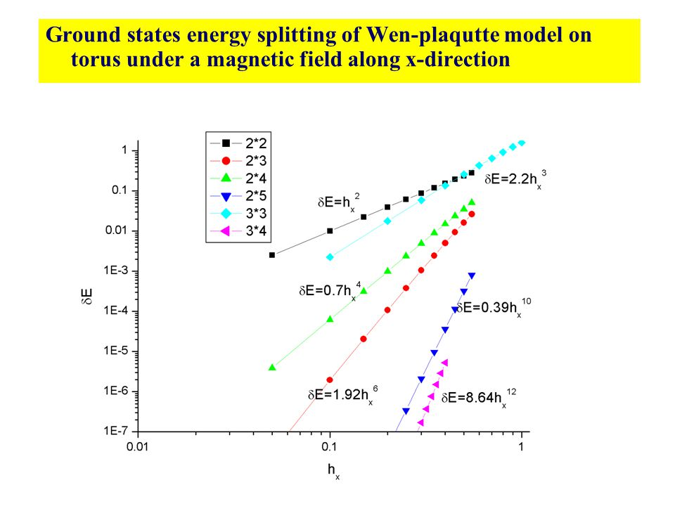Ground states energy splitting of Wen-plaqutte model on torus under a magnetic field along x-direction