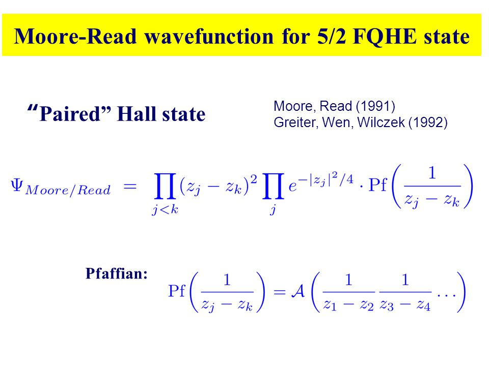 Moore-Read wavefunction for 5/2 FQHE state