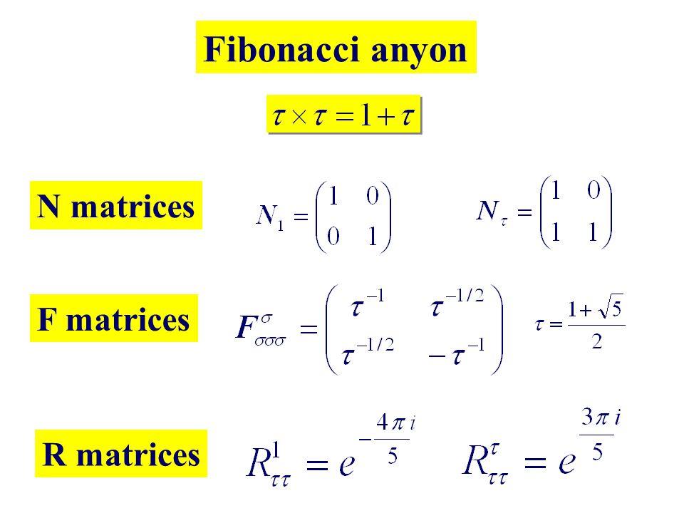 Fibonacci anyon N matrices F matrices R matrices
