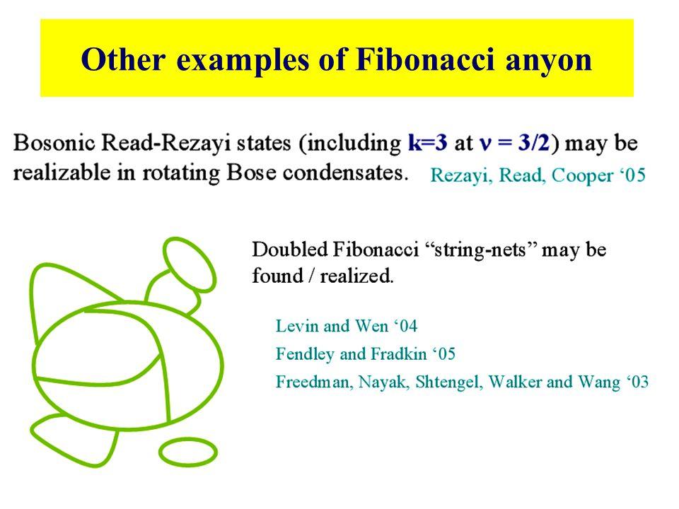 Other examples of Fibonacci anyon