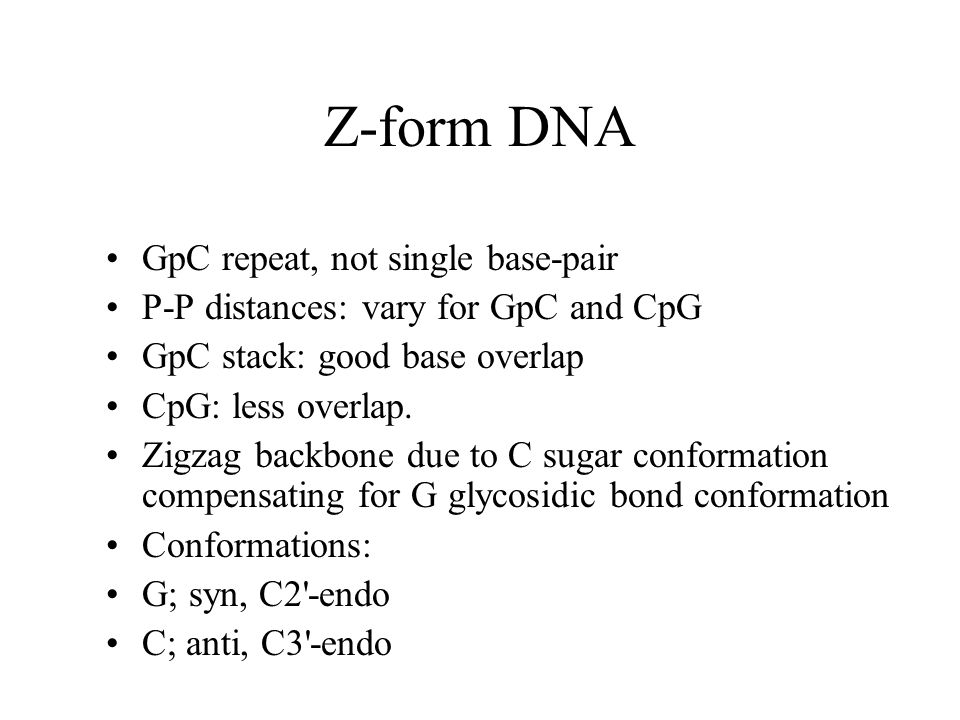 Z-form DNA GpC repeat, not single base-pair
