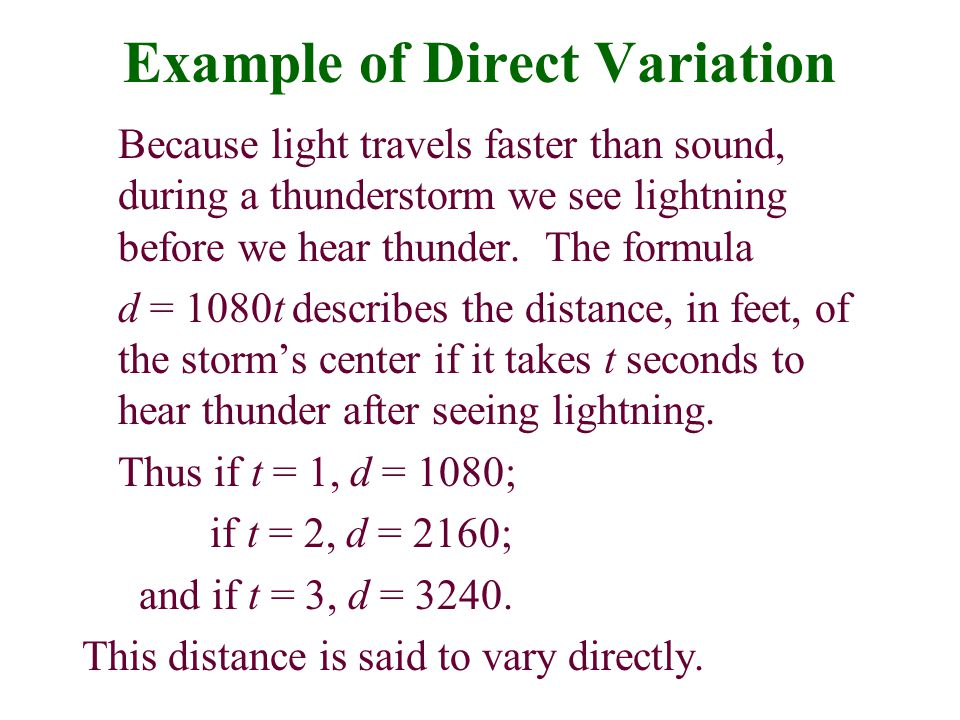Example of Direct Variation