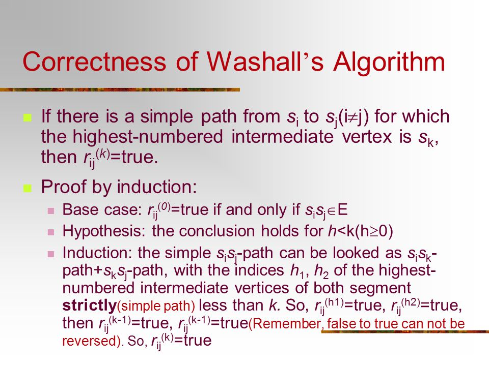 Correctness of Washall's Algorithm