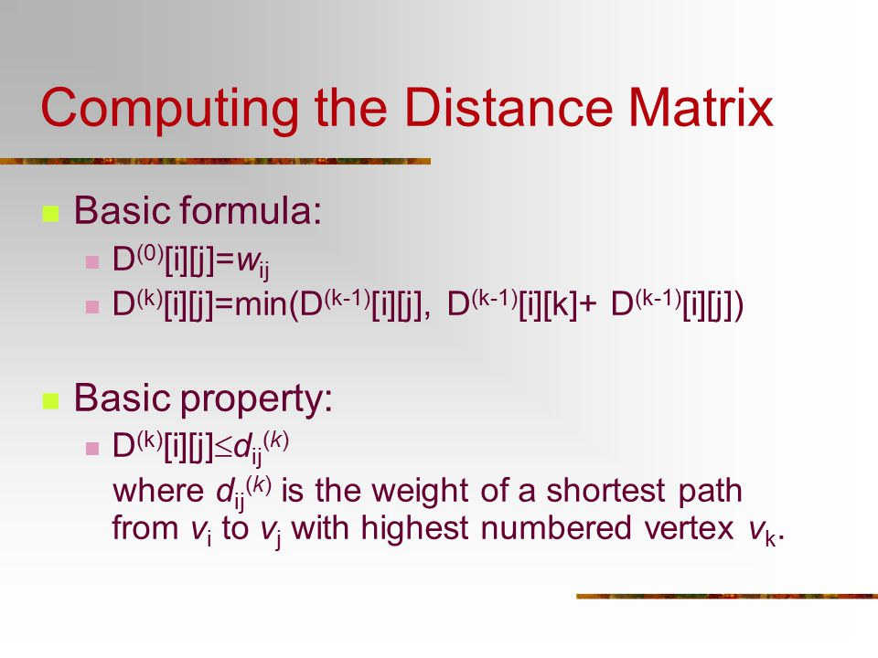 Computing the Distance Matrix