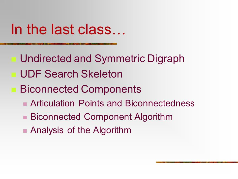 In the last class… Undirected and Symmetric Digraph