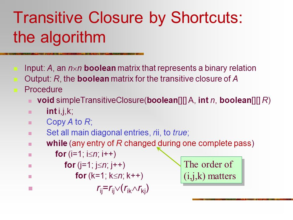 Transitive Closure by Shortcuts: the algorithm