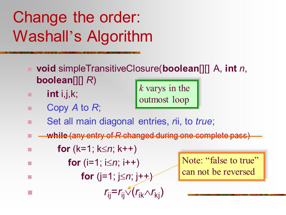 Change the order: Washall's Algorithm