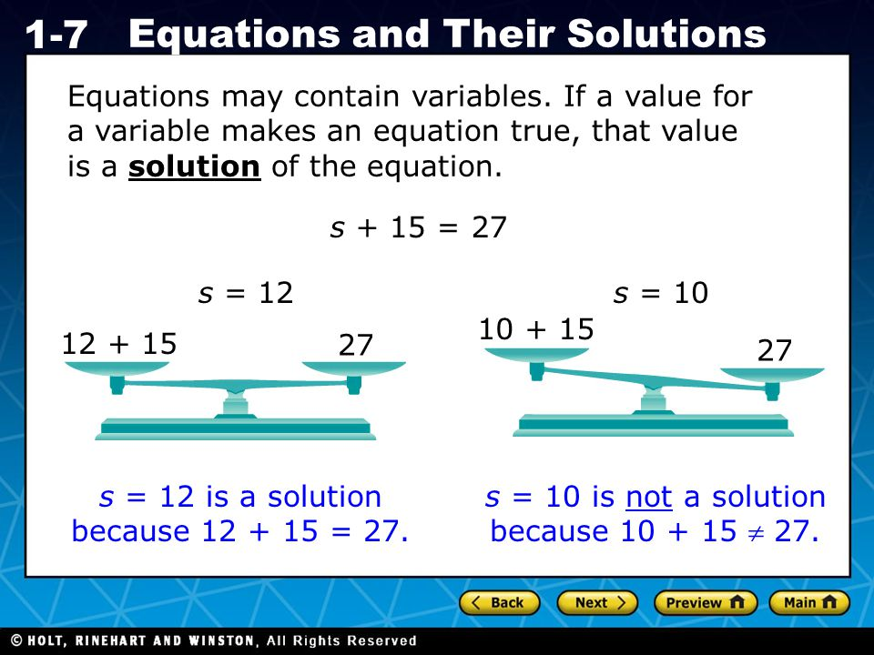 s = 12 is a solution because 12 + 15 = 27.