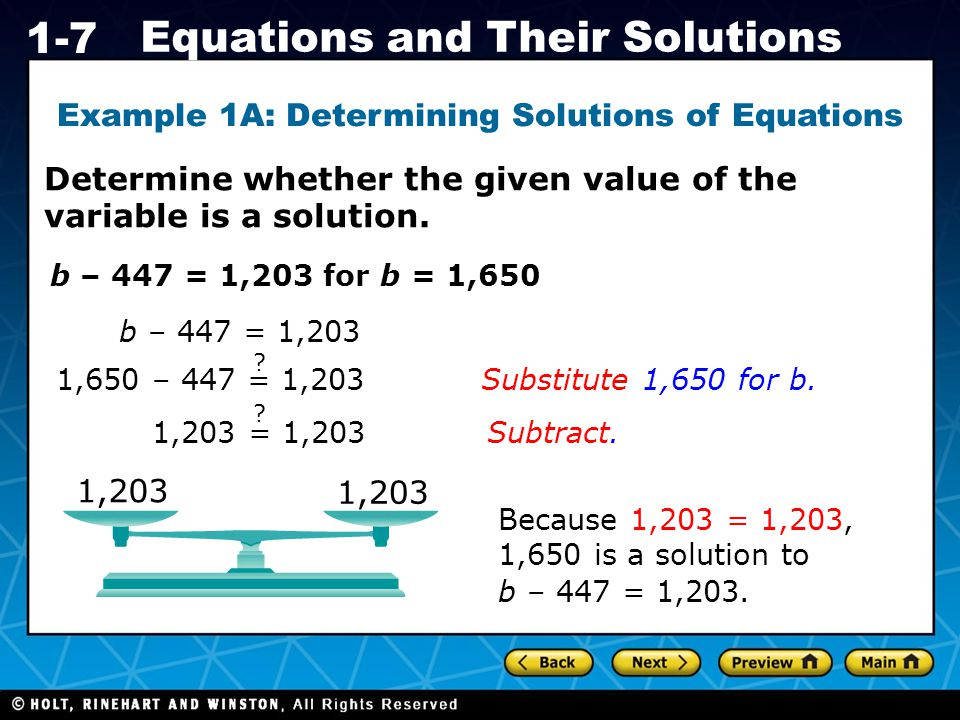 Example 1A: Determining Solutions of Equations