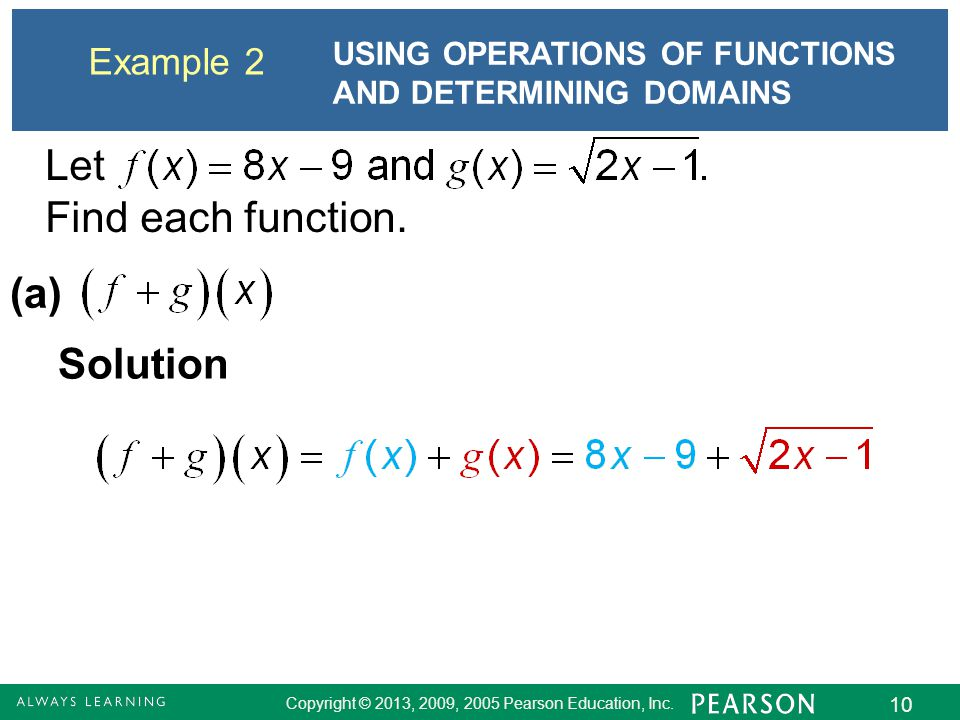 Let Find each function. (a) Solution Example 2