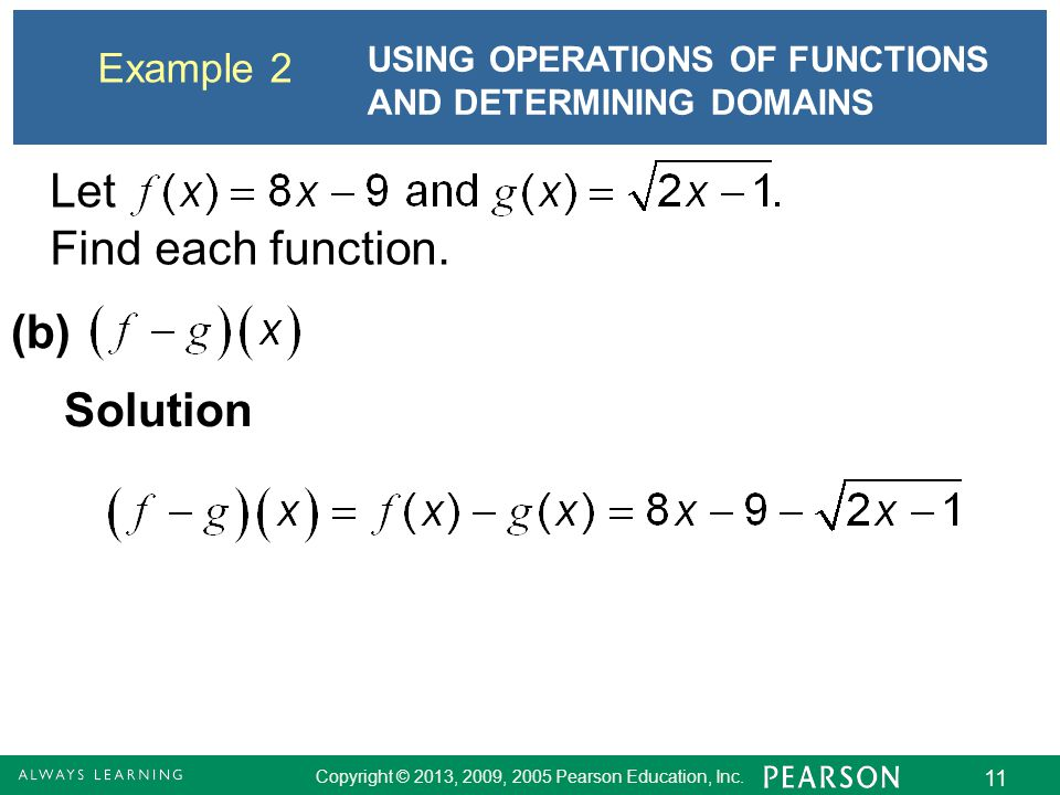 Let Find each function. (b) Solution Example 2