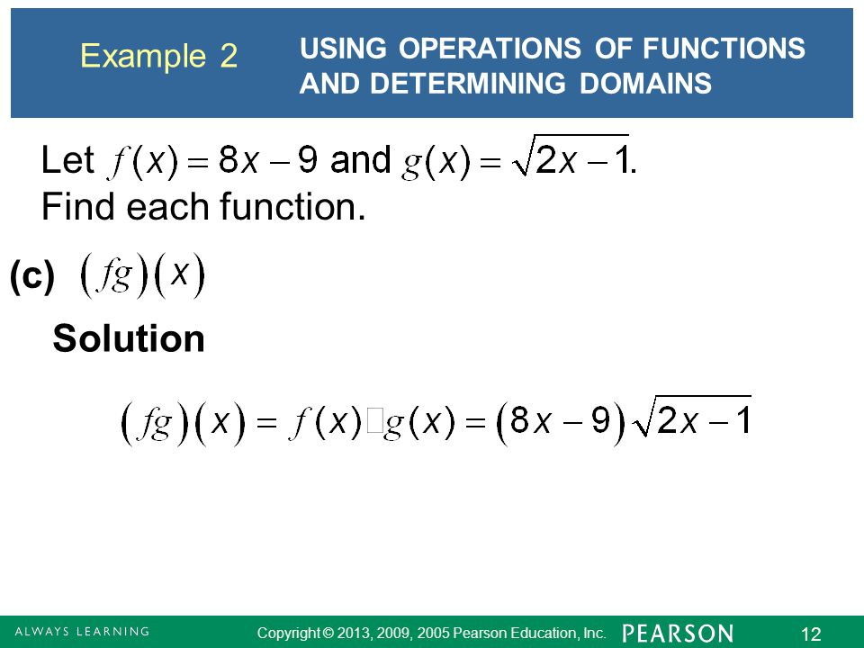 Let Find each function. (c) Solution Example 2