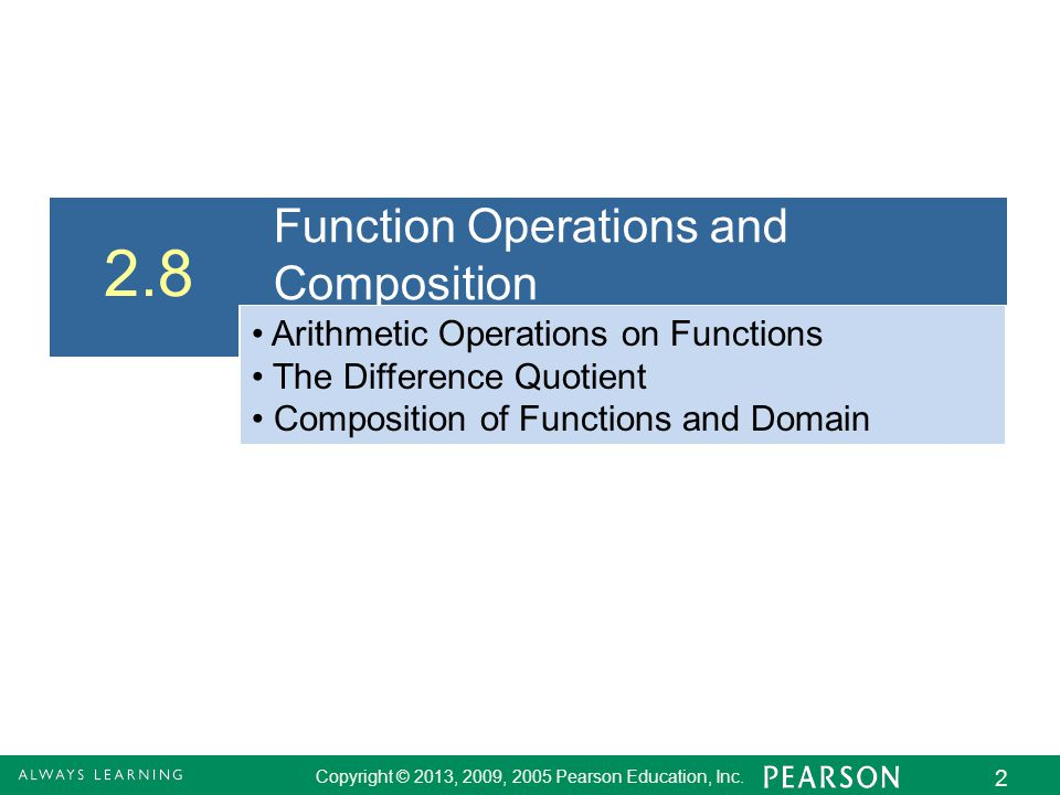 2.8 Function Operations and Composition
