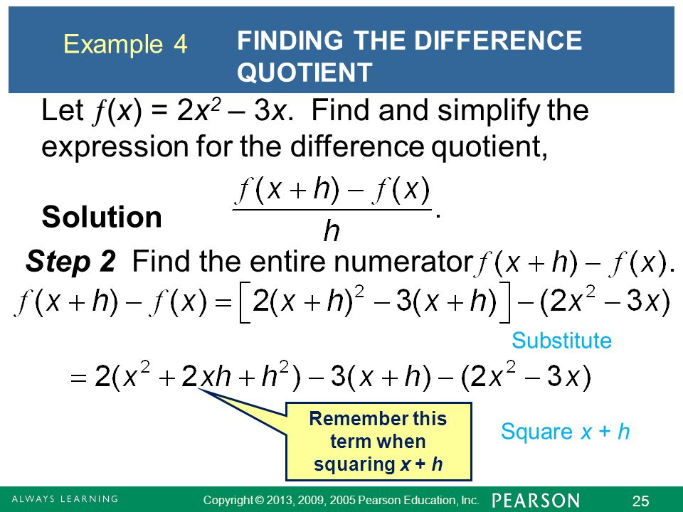 Remember this term when squaring x + h