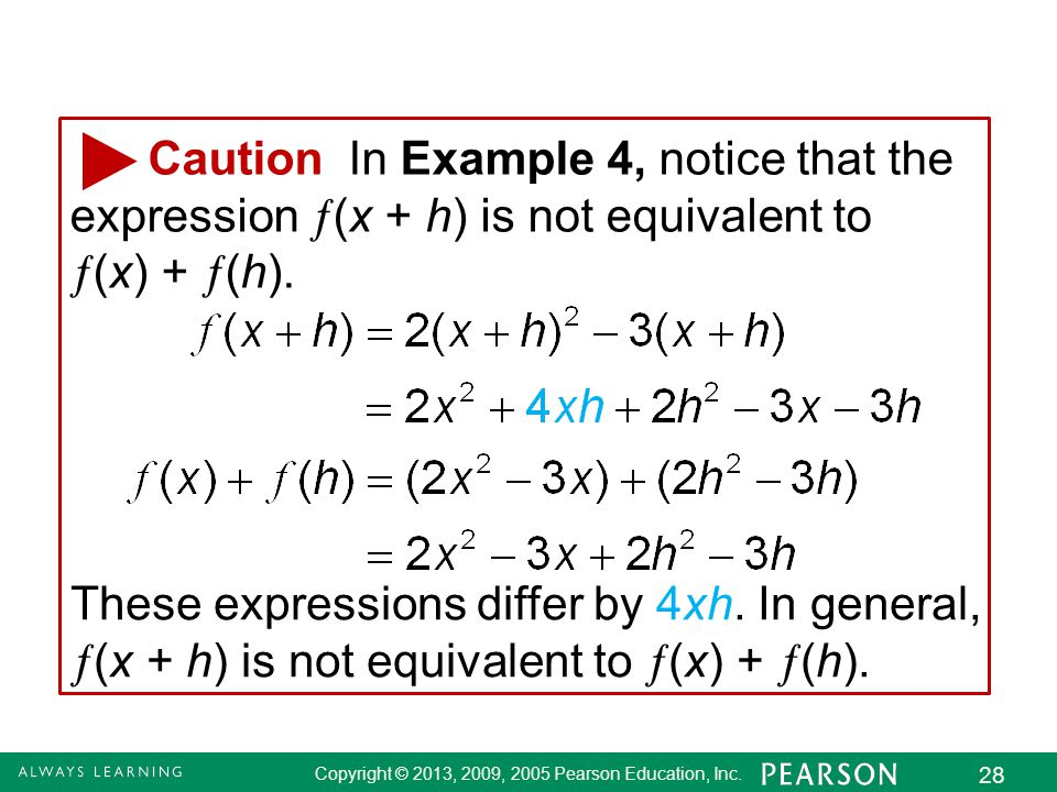 Caution In Example 4, notice that the expression (x + h) is not equivalent to (x) + (h).