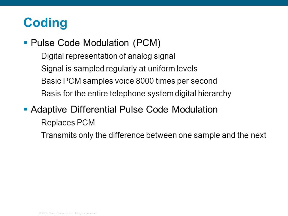 Coding Pulse Code Modulation (PCM)