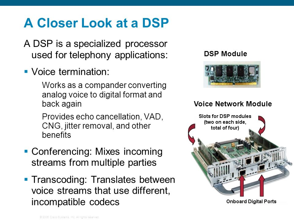 A Closer Look at a DSP A DSP is a specialized processor used for telephony applications: Voice termination: