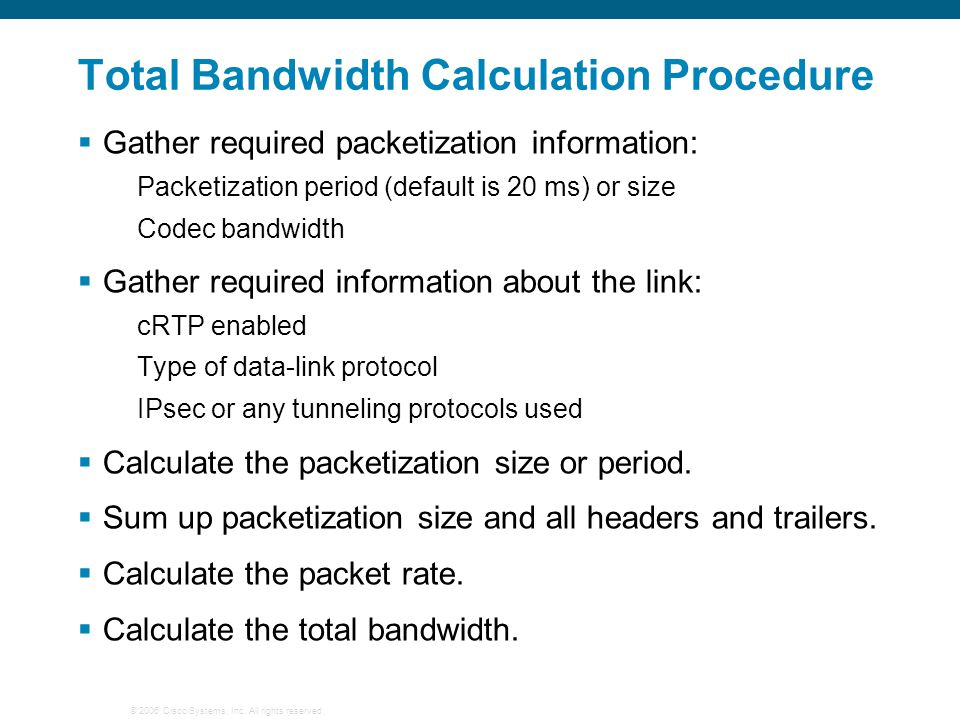 Total Bandwidth Calculation Procedure