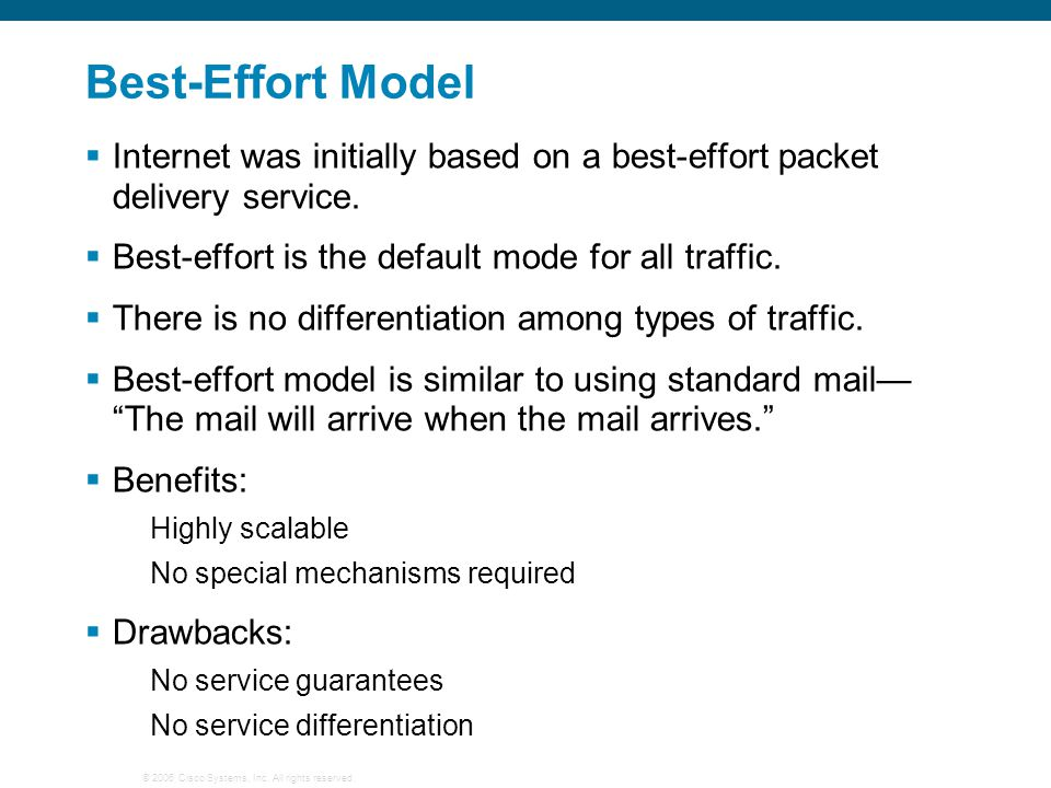 Best-Effort Model Internet was initially based on a best-effort packet delivery service. Best-effort is the default mode for all traffic.
