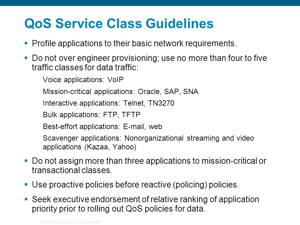 QoS Service Class Guidelines