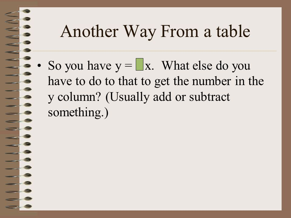 Another Way From a table