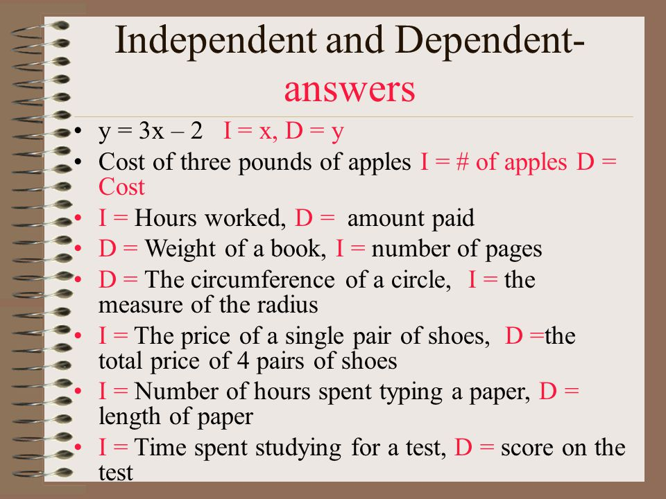Independent and Dependent-answers
