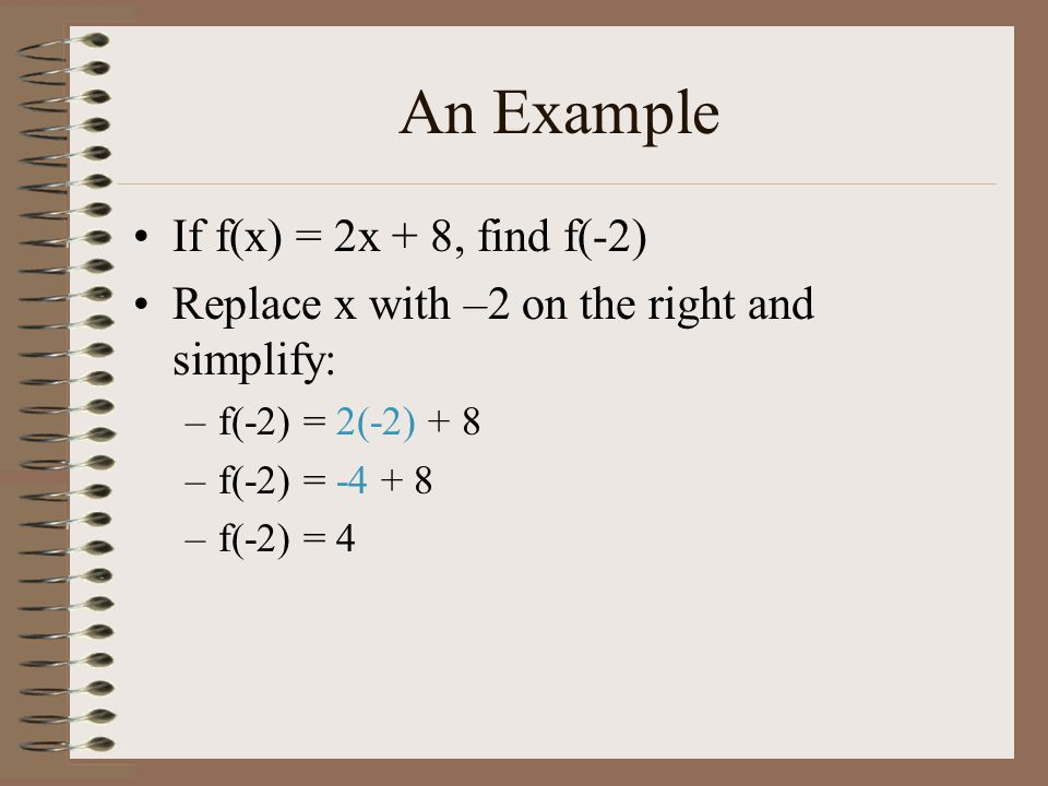 An Example If f(x) = 2x + 8, find f(-2)