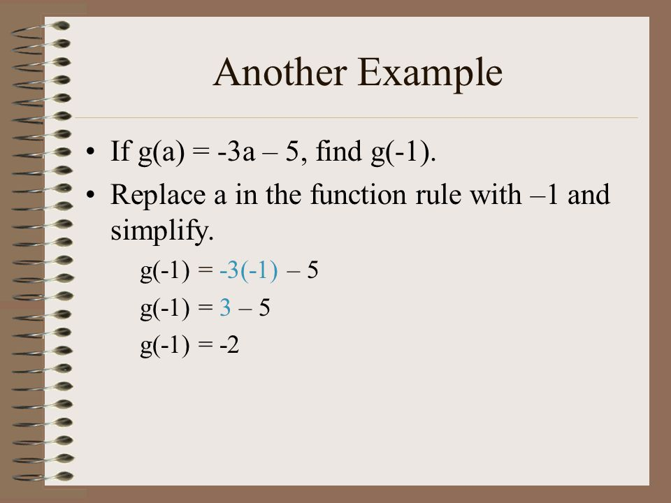 Another Example If g(a) = -3a – 5, find g(-1).