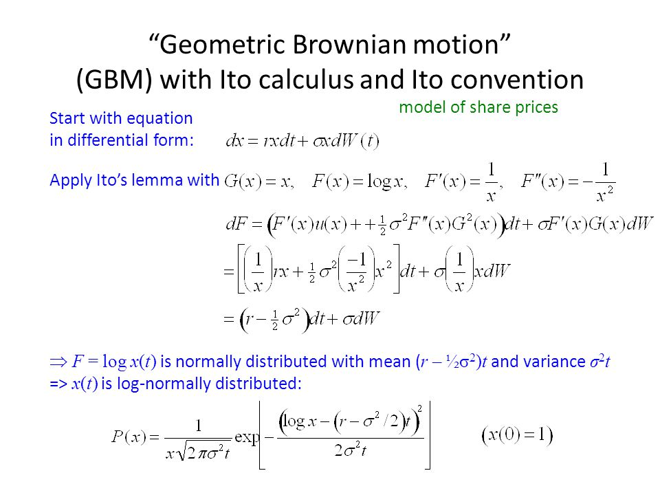 Geometric Brownian motion (GBM) with Ito calculus and Ito convention