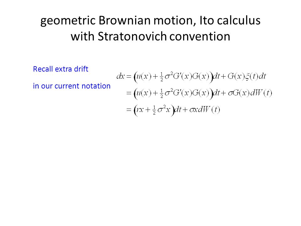 geometric Brownian motion, Ito calculus with Stratonovich convention