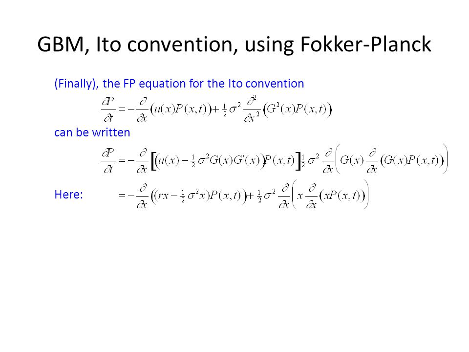 GBM, Ito convention, using Fokker-Planck