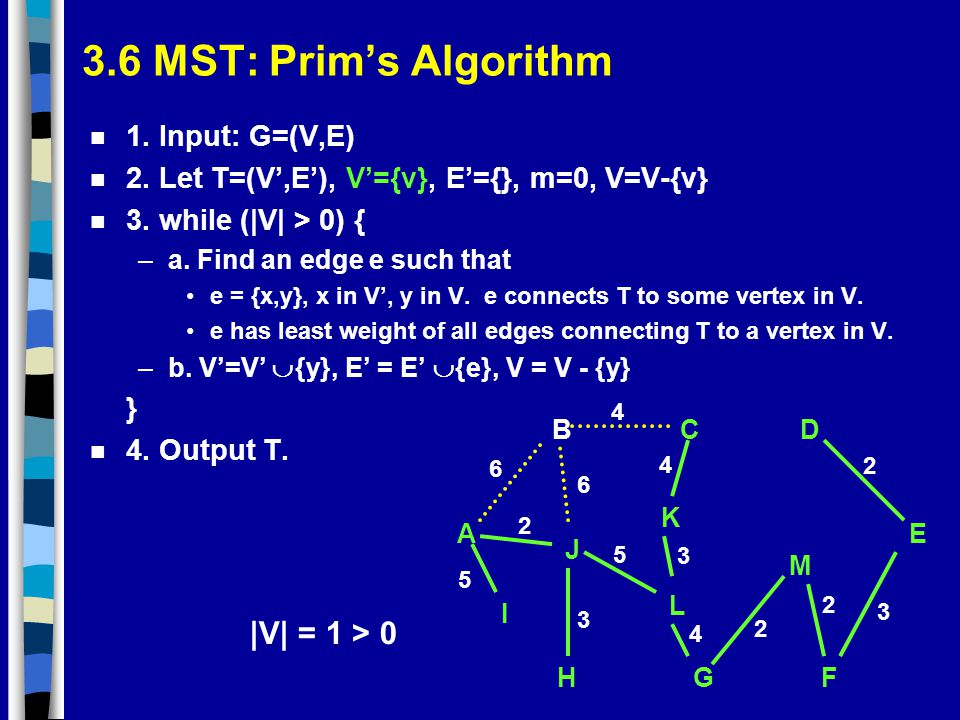 3.6 MST: Prim's Algorithm |V| = 1 > 0 1. Input: G=(V,E)