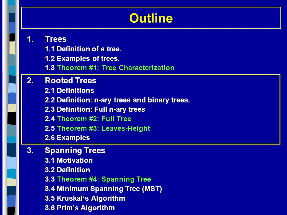 Outline Trees 2. Rooted Trees 3. Spanning Trees