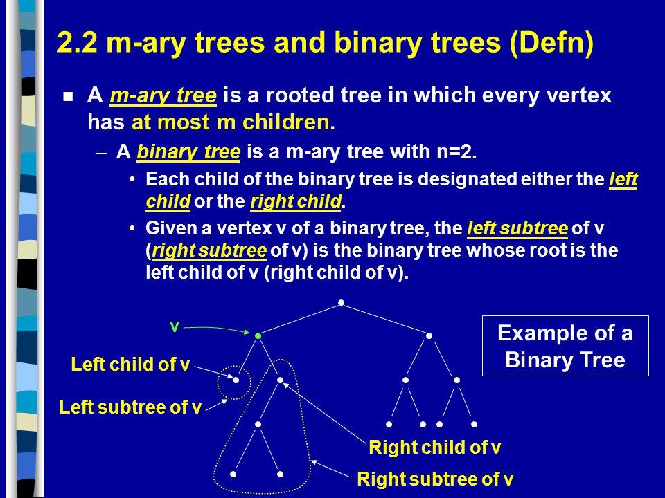 2.2 m-ary trees and binary trees (Defn)