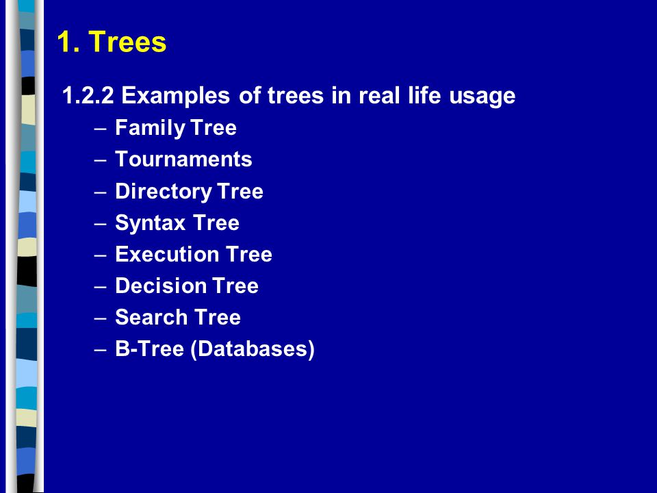 1. Trees Examples of trees in real life usage Family Tree