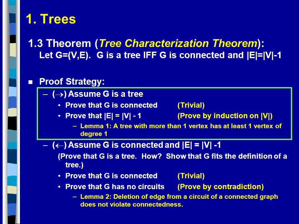 1. Trees 1.3 Theorem (Tree Characterization Theorem): Let G=(V,E). G is a tree IFF G is connected and |E|=|V|-1.
