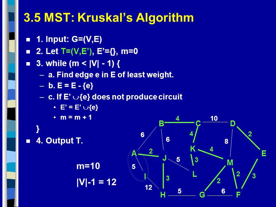 3.5 MST: Kruskal's Algorithm