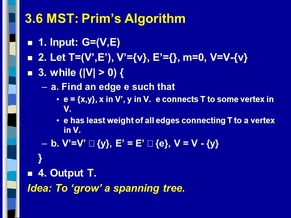 3.6 MST: Prim's Algorithm 1. Input: G=(V,E)