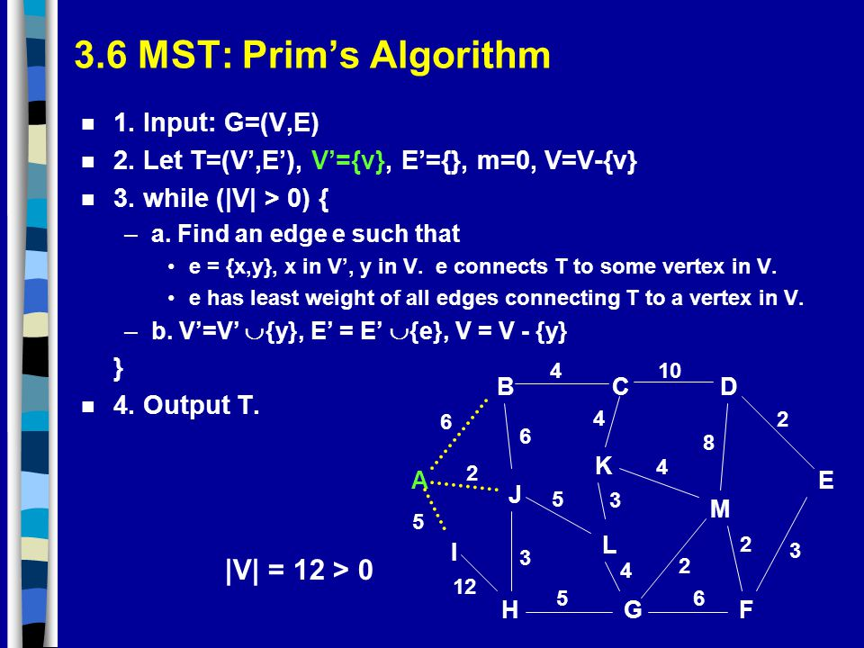 3.6 MST: Prim's Algorithm |V| = 12 > 0 1. Input: G=(V,E)